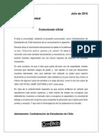 Comunicado Represión CONFECH Julio