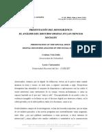Cantamutto y Vela Delfa. Presentación Del Mongráfico El Análisis Del Discurso en Las Ciencias Sociales