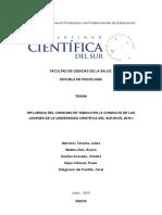 INFLUENCIA DEL CONSUMO DE TABACO EN LA CONDUCTA DE LOS JÓVENES DE LA UNIVERSIDAD CIENTÍFICA DEL SUR EN EL 2015-I