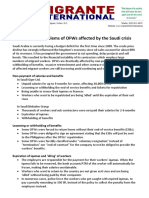 Briefer on the problems of OFWs affected by the Saudi crisis