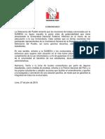 Comunicado en relación con la grave crisis de gobernabilidad que viene atravesando la Universidad Nacional Federico Villarreal en el marco de su adecuación a la Ley Universitaria.