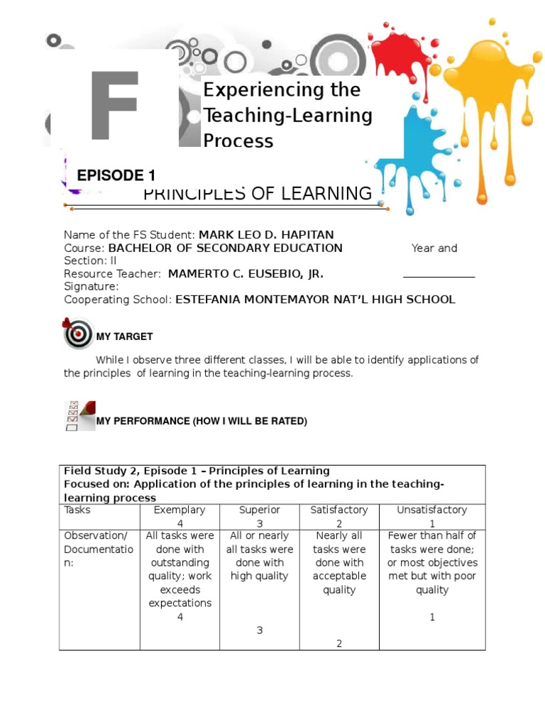 field study 2 experiencing the teaching learning process