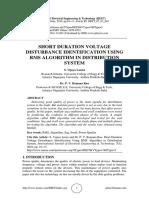 SHORT DURATION VOLTAGE DISTURBANCE IDENTIFICATION USING RMS ALGORITHM IN DISTRIBUTION SYSTEM