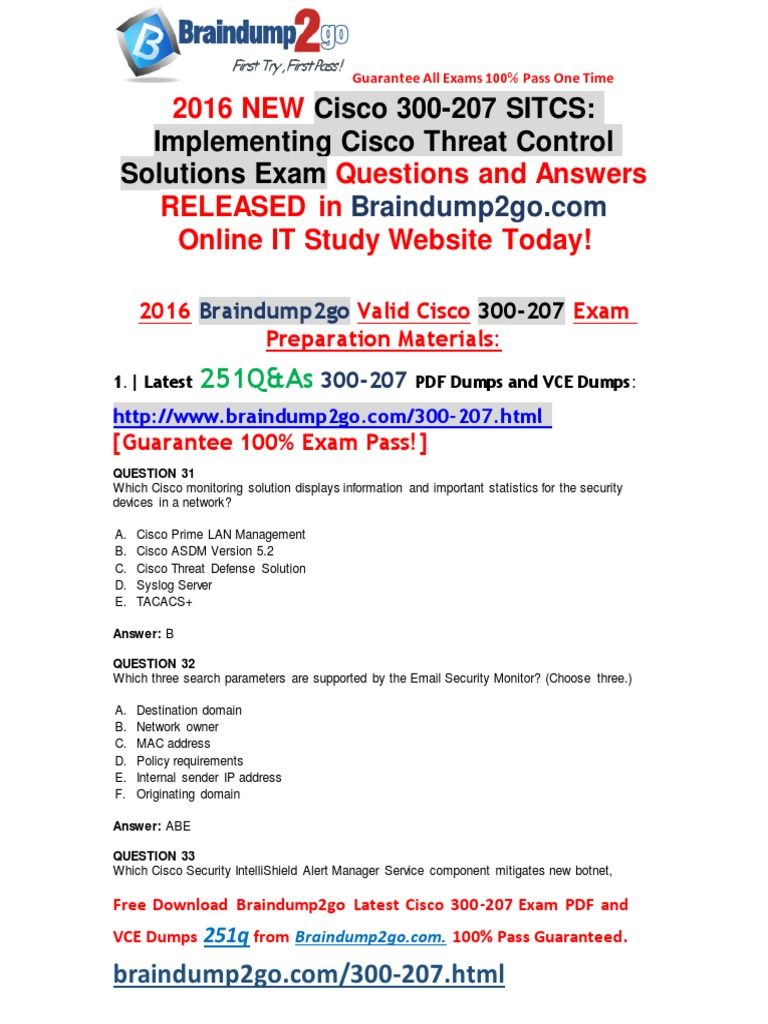 2016 07 NEW]Cisco Exam 300-207 PDF 251q[31-40] | Ip Address | File