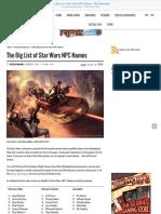The Big List of Star Wars NPC Names - RPG Ready