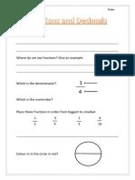 fractions and decimals pre assessment worksheet