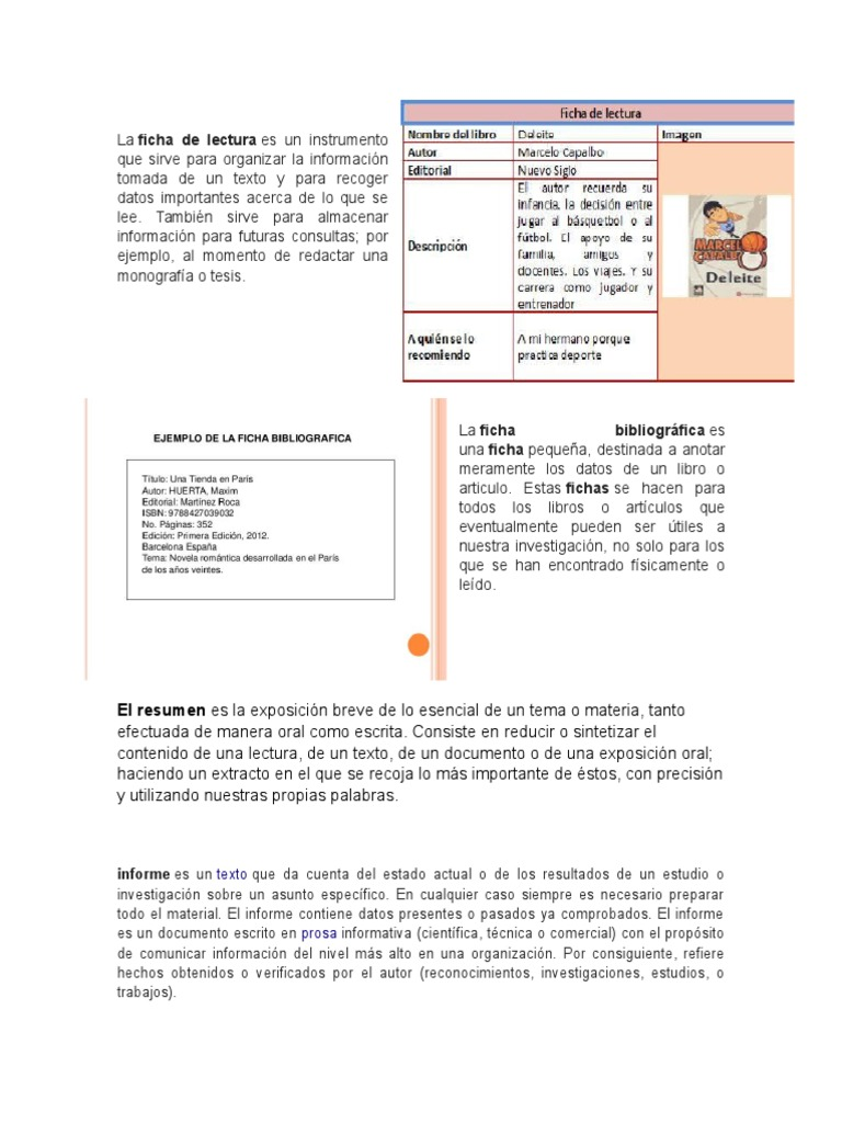 Ficha de Lectura, Bibliografica, Resumen, Informe, Bosquejo, Cuadro ...