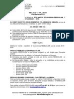 Res. 013 Reglamentación Licencias FEDECOLGIM 2016