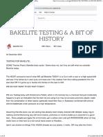 Bakelite Testing a Bit of History