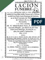 Oracion Funebre a Santa Leocadia - Real Convento Santo Domingo de Guzman 1716