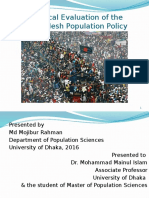 Critical Evalustion of Bangladesh Population Policy