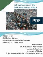 Critical Evalustion of Bangladesh Population Policy