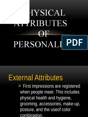 Physical Attributes of Personality   Cosmetics   Hygiene