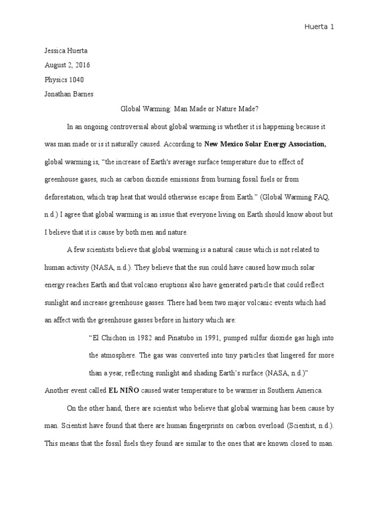 is global warming man made essay