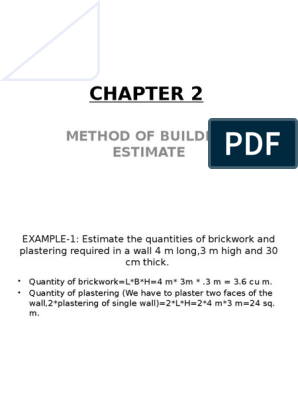 CHAPTER 2-Method of Building Estimate | Mortar (Masonry