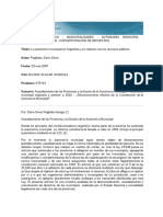 La Autonomía Municipal en Argentina y Su Relación Con Los Recursos Públicos
