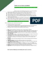 Maintenance Procedures of Electrical Equipment