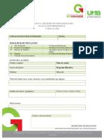 Formato 1. Registro de La Opción de Titulación..