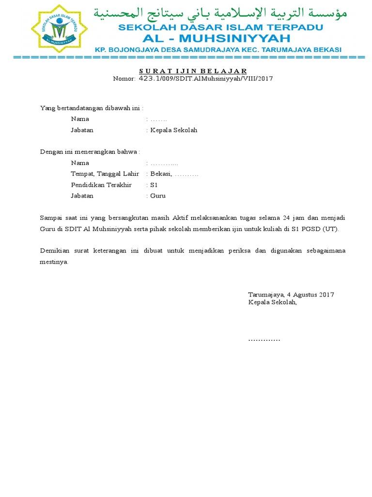 Contoh Surat Keterangan Kuliah Di Universitas Terbuka ...