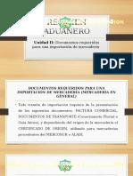 UNIDAD II DOCUMENTOS REQUERIDOS PARA UNA IMPORTACIÓN DE MERCADERÍA 
