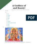 Lakshmi Goddess of Wealth and Beauty