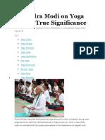 Narendra Modi on Yoga and Its True Significance