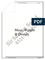 Notes Physics Mass,Weight,Density