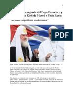 Declaración Conjunta Del Papa Francisco y Del Patriarca Kiril de Moscú y Toda