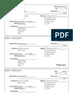 Rent Receipt Excel