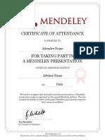 Mendeley Participation Certificate