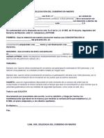 Modelo de Comunicación a la Delegación del Gobierno