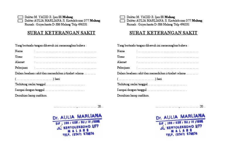 Surat Dokter Malang Resepmenuhargacom