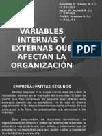 VARIABLES INTERNAS Y EXTERNAS QUE AFECTAN LA ORGANIZACIÓN.ppt