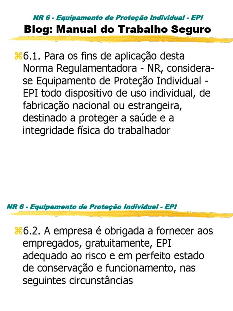 MANUAL Equipamento de Proteção Individual Epi - Treinamento 1088a8bb1b