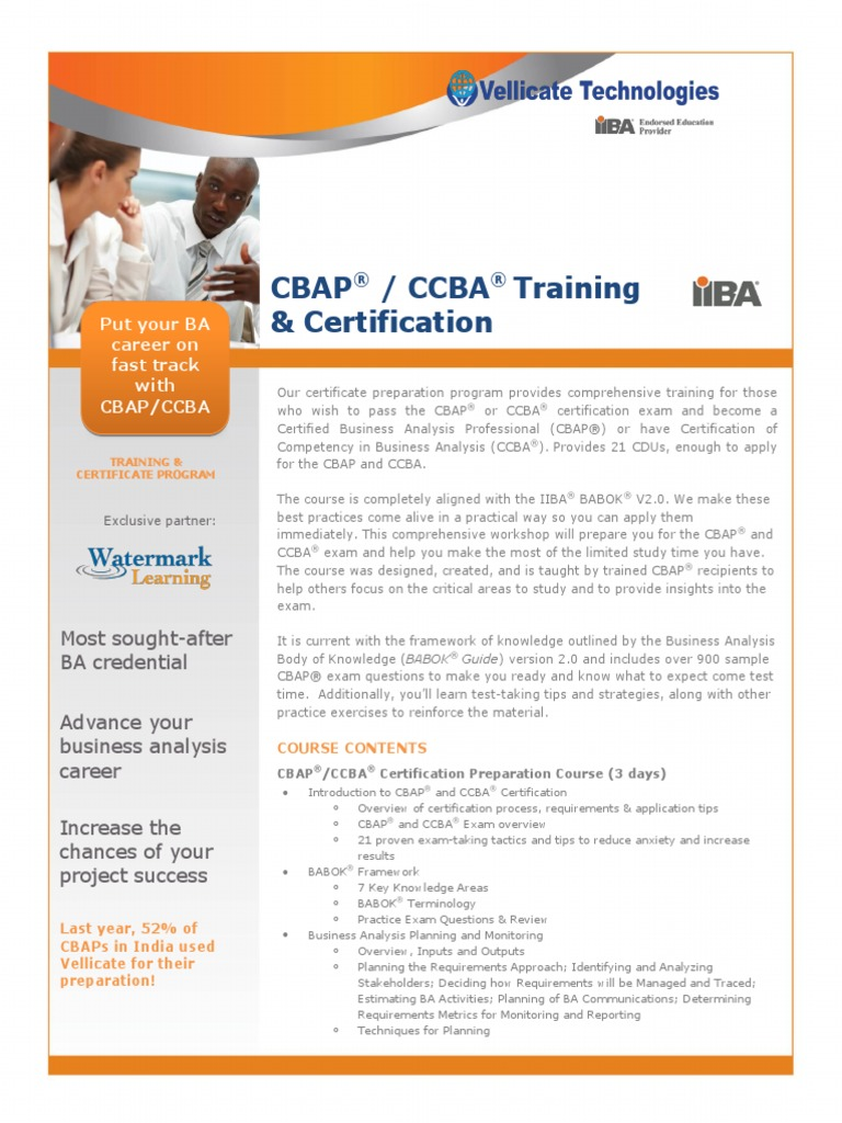 Cbap Brochure 2015 Professional Certification Business Analysis