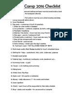 Summer Camp 2016 Checklist