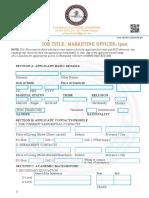 JOB APPLICATION(Marketing Officer)