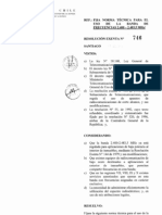 Resolucion Exenta n° 746 Banda 2.4Ghz para aplicaciones en Exterior