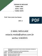Cronograma Moulage - Turma - 3001 - Quarta - Feira