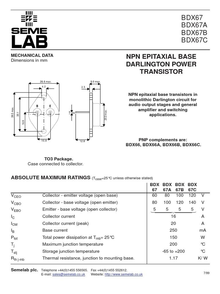 2N6284 RCA NPN COMPLEMENTARY to 2N6287  DARLINGTON  Power Transistor  BDX67