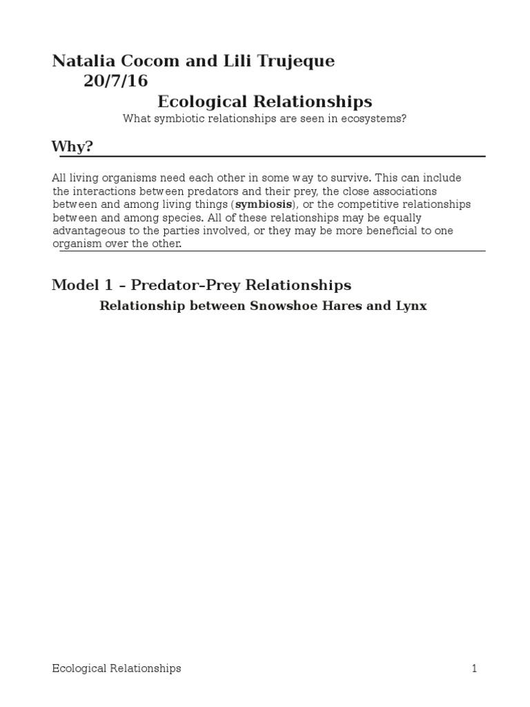 17 ecological relationships-s-pogil-23natalia | Predation | Symbiosis