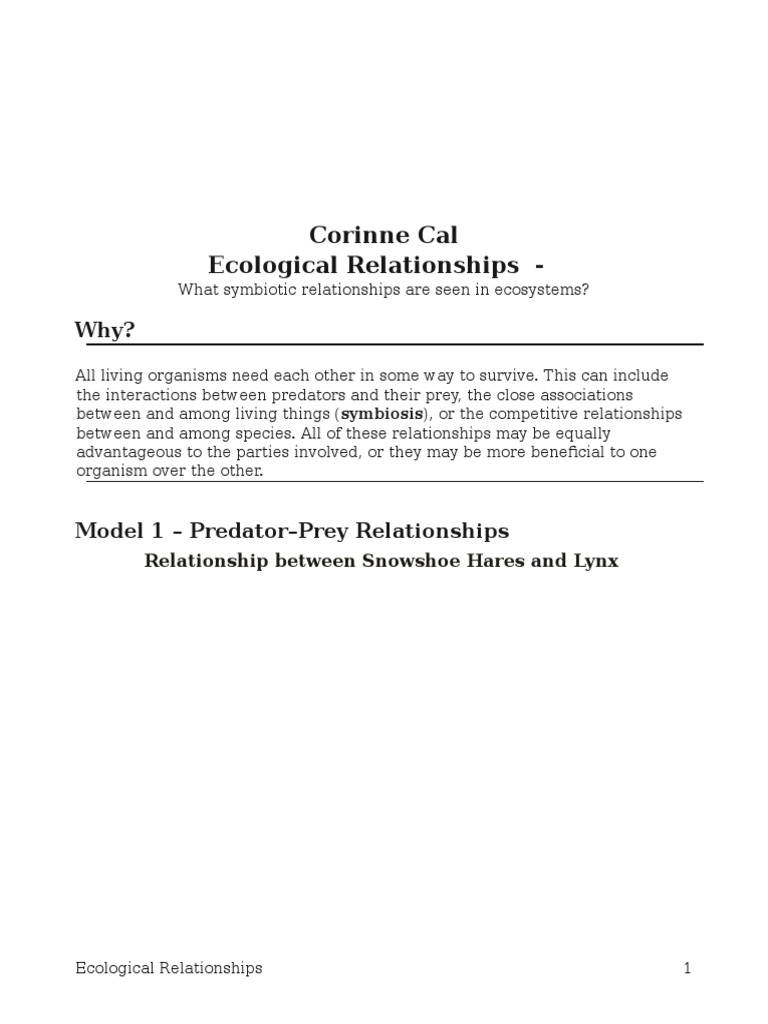 17 ecological relationshipsspogil23 Symbiosis – Symbiotic Relationships Worksheet