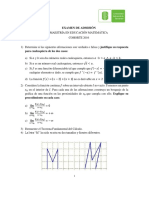 Examen_Maestría en Educación Matemática_I 2016