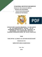 """CAPACITACIÓN  DOCENTE PRESENCIAL  Y SU INFLUENCIA   EN   LA PLANIFICACIÓN DE   LECCIÓN   Y  EN  EL DESEMPEÑO DOCENTE EN AULA  DEL  PROFESOR   DE  SECUNDARIA    DE LA INSTITUCIÓN  EDUCATIVA  """"SAGRADO CORAZÓN DE JESÚS"""" DE  CALCA- CUSCO 2013"""