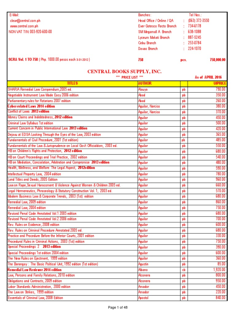 price list of books published by central bookstore as of april 2016 rh scribd com Syllabus Funny College Syllabus