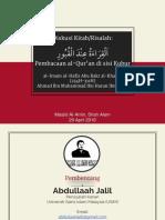 2016 04 29 Al-Qiraah Inda Al-Qabr - Abu Bakr Al-Khallal