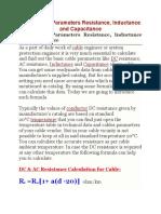 Cable Basic Cable Basic Parameters ResistanceParameters Resistance