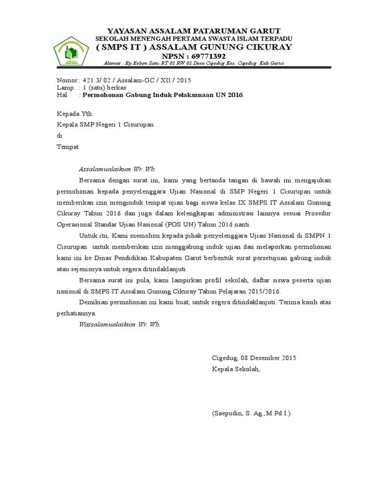 Contoh Surat Permohonan Induk