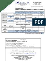 Aug 2016 Class Schedule