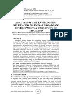 ANALYSIS OF THE ENVIRONMENT INFLUENCING NATIONAL BROADBAND DEVELOPMENT